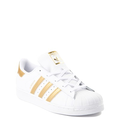 Alternate view of adidas Superstar Athletic Shoe - Big Kid - White / Gold