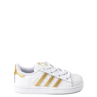 Main view of adidas Superstar Athletic Shoe - Baby / Toddler - White / Gold