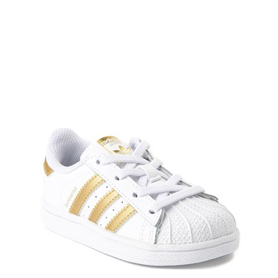 Alternate view of adidas Superstar Athletic Shoe - Baby / Toddler - White / Gold