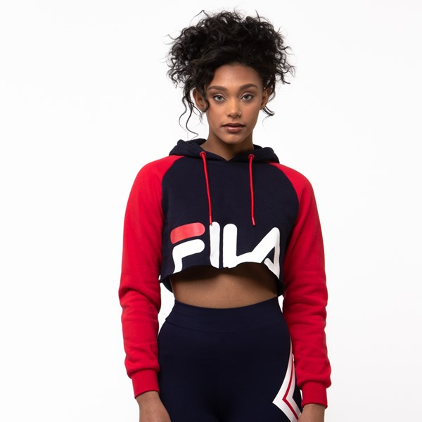 Womens Fila Luciana Cropped Hoodie - Navy / Red / White