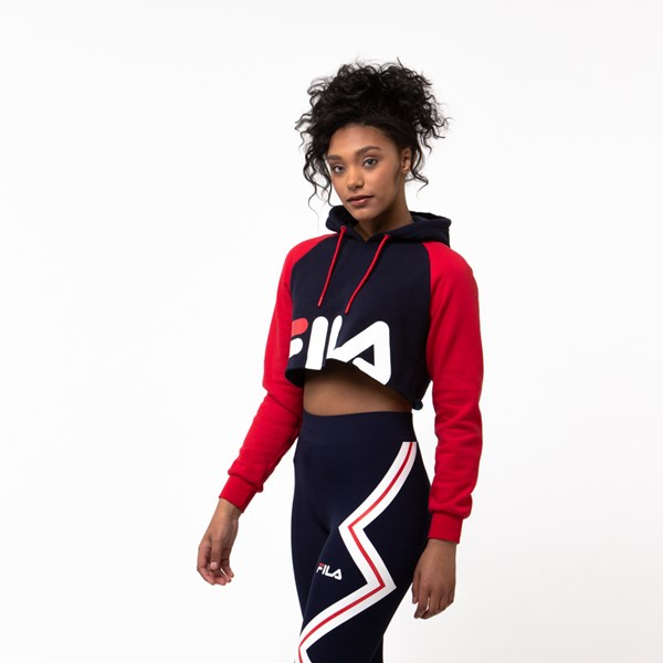 alternate view Womens Fila Luciana Cropped Hoodie - Navy / Red / WhiteALT2