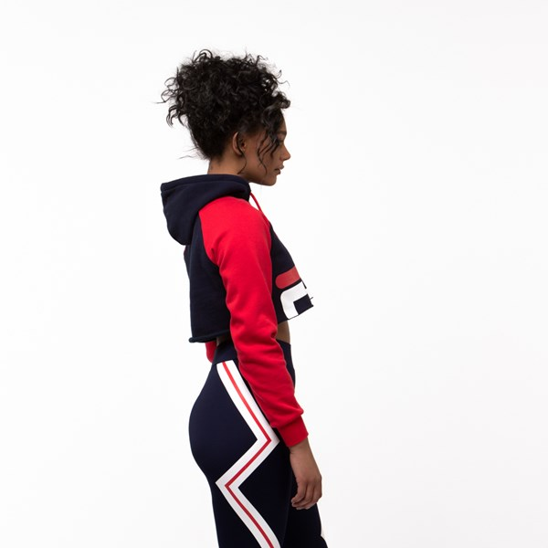alternate view Womens Fila Luciana Cropped Hoodie - Navy / Red / WhiteALT3