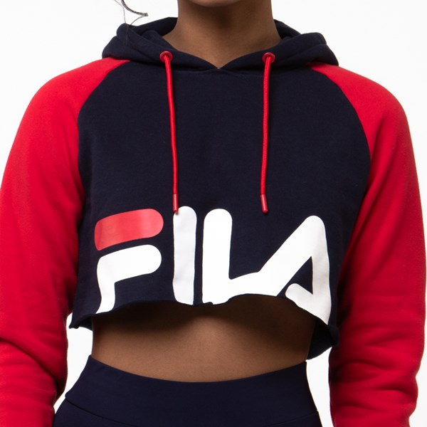 alternate view Womens Fila Luciana Cropped Hoodie - Navy / Red / WhiteALT4