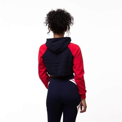 Alternate view of Womens Fila Luciana Cropped Hoodie - Navy / Red / White