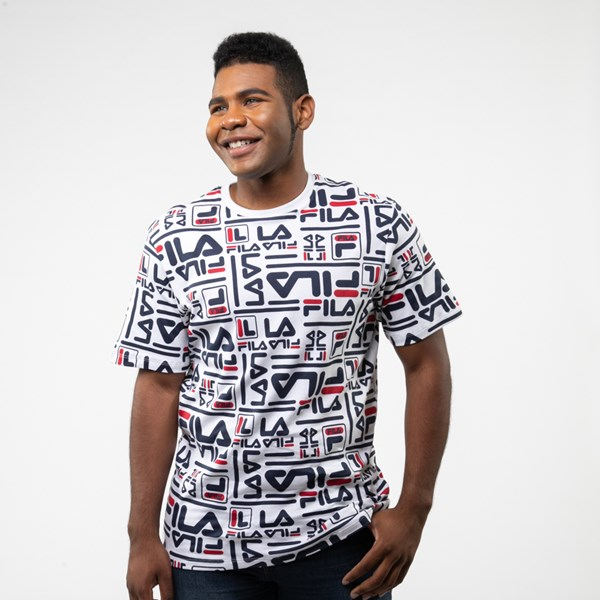 Mens Fila Charlie All-Over Logo Tee - White / Multi