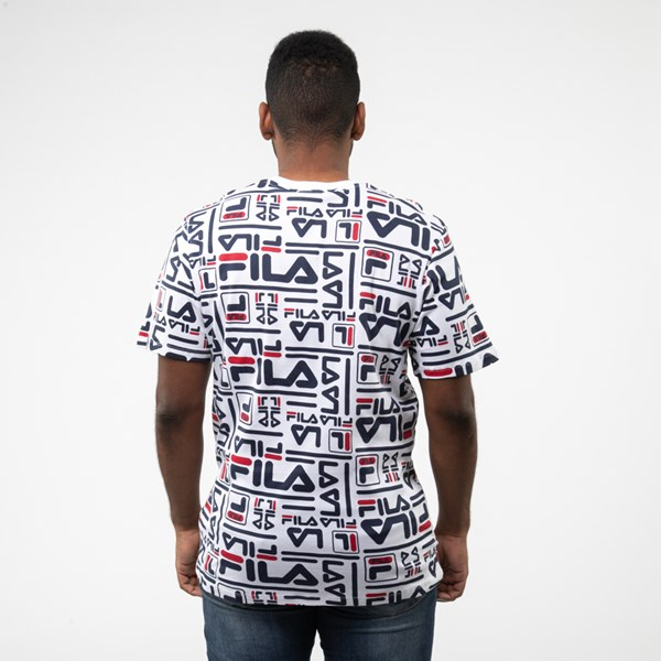 alternate view Mens Fila Charlie All-Over Logo Tee - White / MultiALT1
