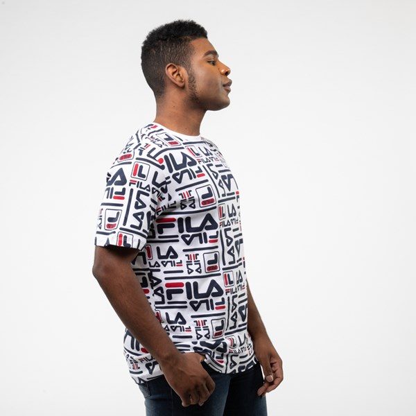 alternate view Mens Fila Charlie All-Over Logo Tee - White / MultiALT3