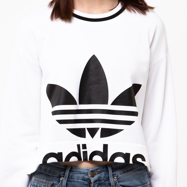 alternate view Womens adidas Trefoil Cropped SweatshirtALT4