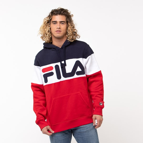 Mens Fila Flamino Hoodie - White / Navy / Red