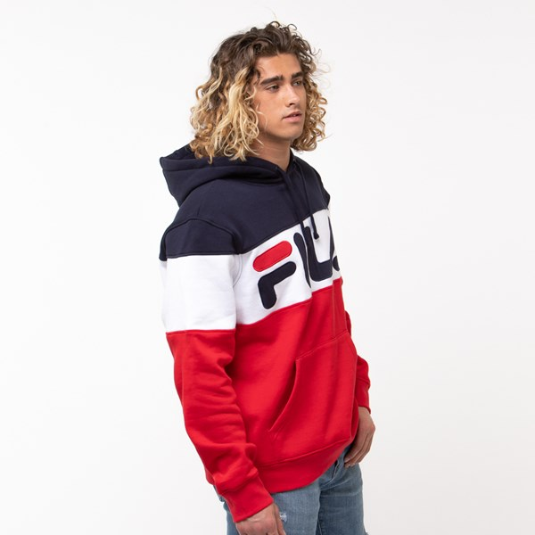 alternate view Mens Fila Flamino Hoodie - White / Navy / RedALT3