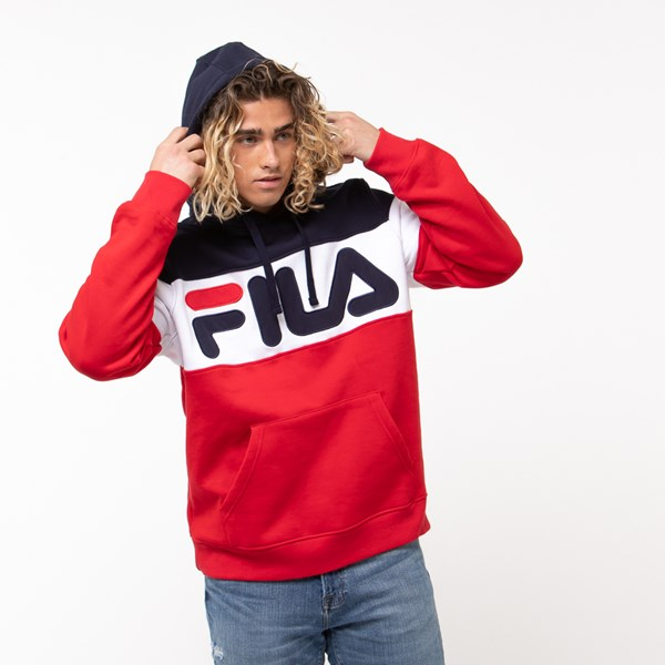 alternate view Mens Fila Flamino Hoodie - White / Navy / RedALT4