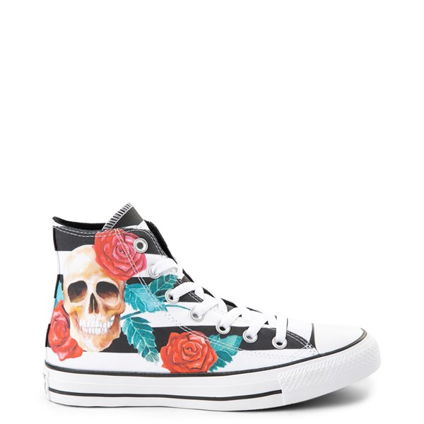 Default view of Converse Chuck Taylor All Star Hi Skull Roses Sneaker - Black / White