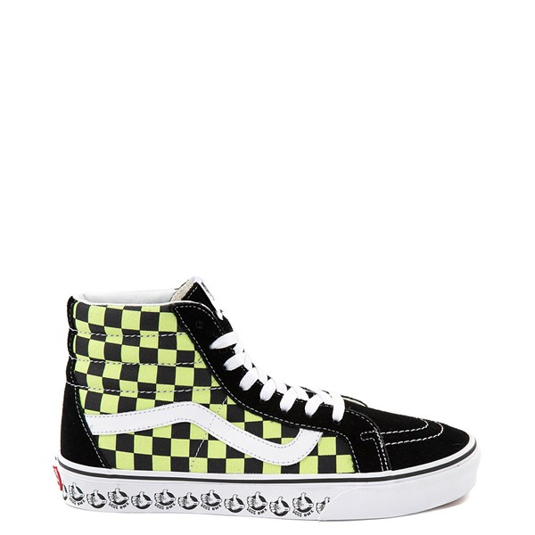 Vans Sk8 Hi BMX Checkerboard Skate Shoe - Black / Lime