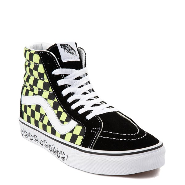 Alternate view of Vans Sk8 Hi BMX Checkerboard Skate Shoe - Black / Lime