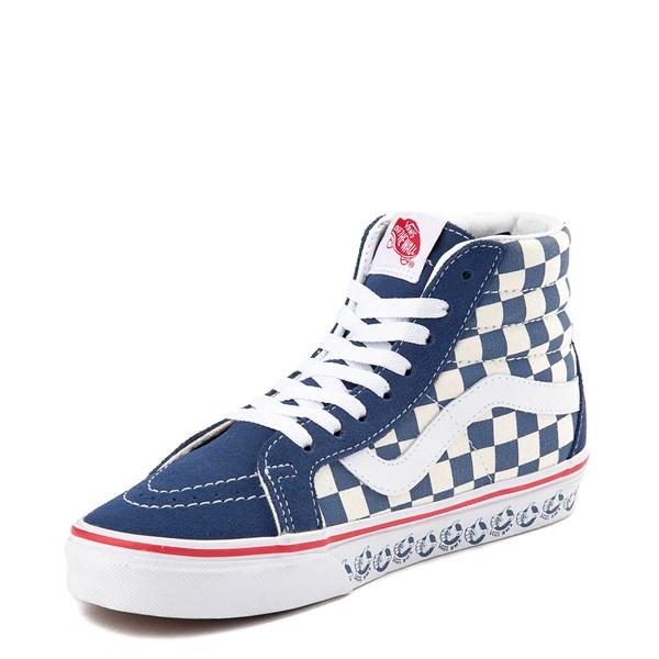 alternate view Vans Sk8 Hi BMX Checkerboard Skate Shoe - Blue / WhiteALT3