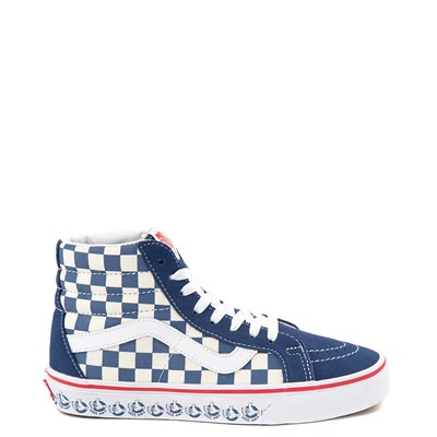 Main view of Vans Sk8 Hi BMX Checkerboard Skate Shoe - Blue / White