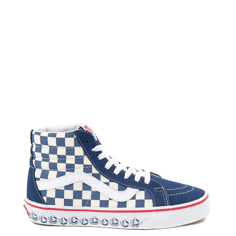 Vans Sk8 Hi BMX Checkerboard Skate Shoe - Blue / White