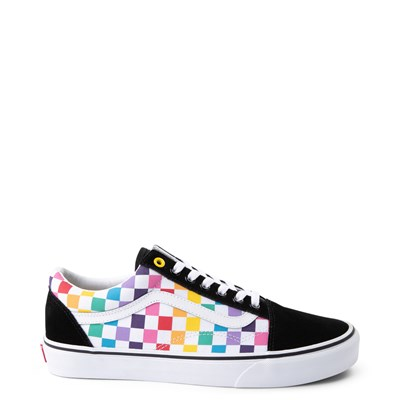 Main view of Vans Old Skool Rainbow Checkerboard Skate Shoe - Multi