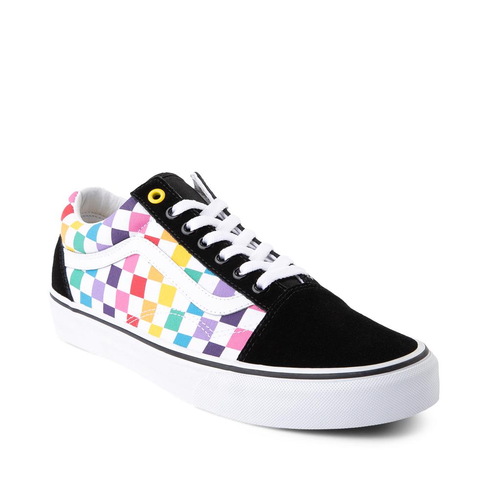 Vans Old Skool Rainbow Checkerboard Skate Shoe - Multi   Journeys