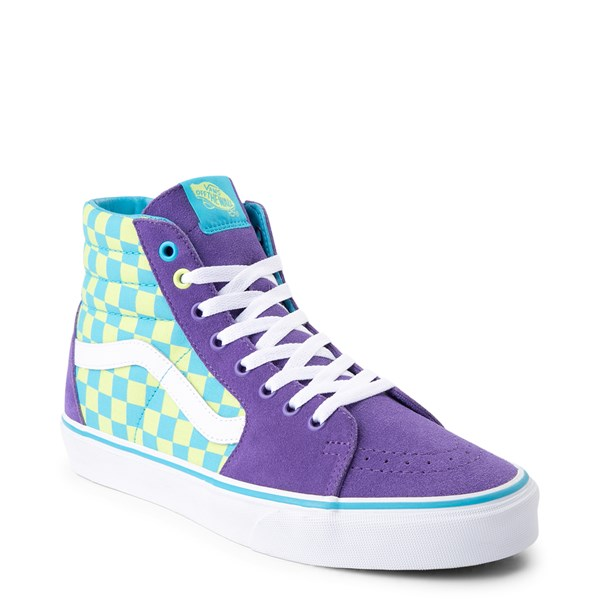 alternate view Vans Sk8 Hi Checkerboard Skate Shoe - Violet / CyanALT1