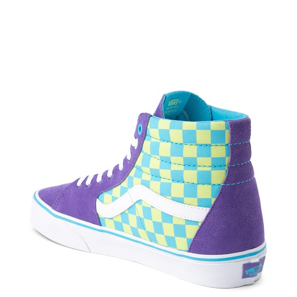 alternate view Vans Sk8 Hi Checkerboard Skate Shoe - Violet / CyanALT2