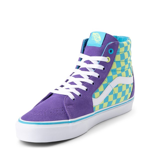 alternate view Vans Sk8 Hi Checkerboard Skate Shoe - Violet / CyanALT3