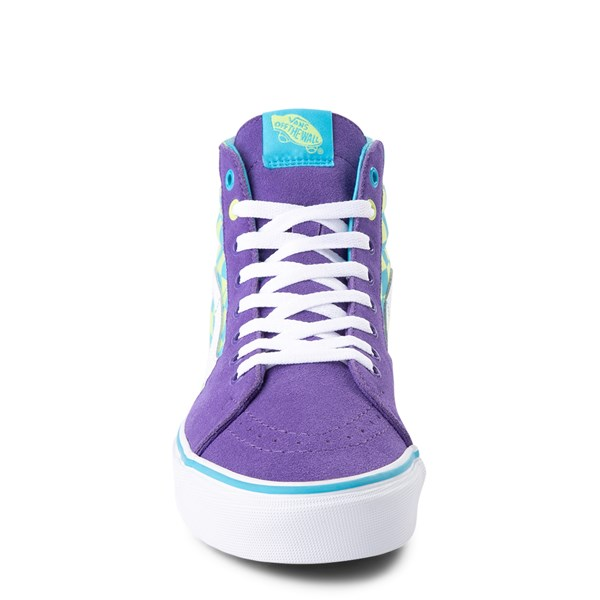 alternate view Vans Sk8 Hi Checkerboard Skate Shoe - Violet / CyanALT4