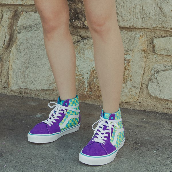 alternate view Vans Sk8 Hi Checkerboard Skate Shoe - Violet / CyanB-LIFESTYLE1