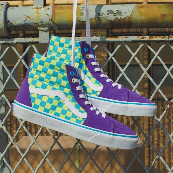 alternate view Vans Sk8 Hi Checkerboard Skate Shoe - Violet / CyanC-HERO2
