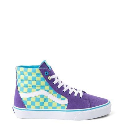 Main view of Vans Sk8 Hi Checkerboard Skate Shoe - Violet / Cyan
