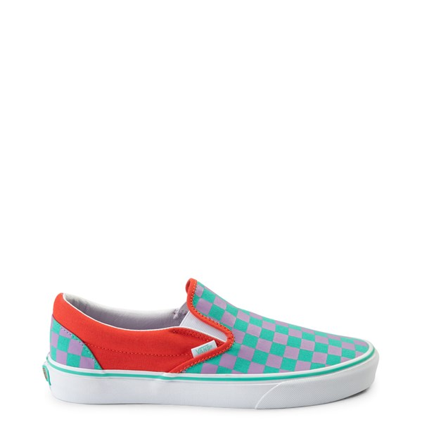 Main view of Vans Slip On Checkerboard Skate Shoe - Tomato / Orchid