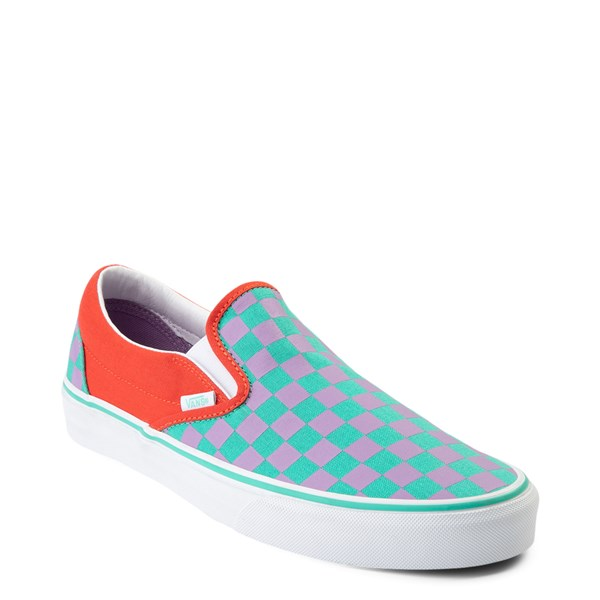 alternate view Vans Slip On Checkerboard Skate Shoe - Tomato / OrchidALT1