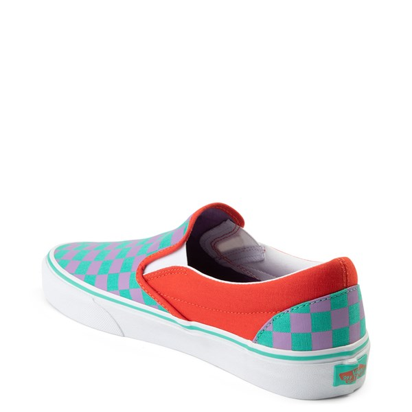 alternate view Vans Slip On Checkerboard Skate Shoe - Tomato / OrchidALT2