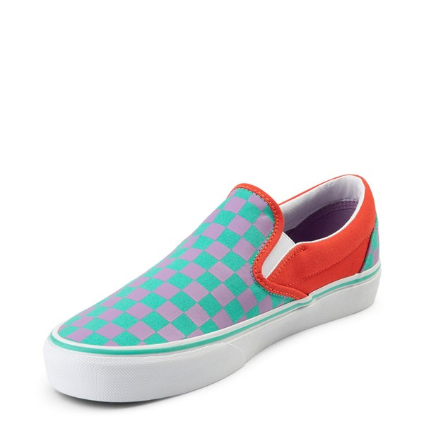 alternate view Vans Slip On Checkerboard Skate Shoe - Tomato / OrchidALT3
