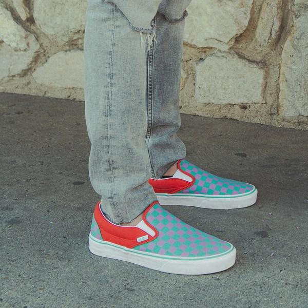 alternate view Vans Slip On Checkerboard Skate Shoe - Tomato / OrchidC-HERO1