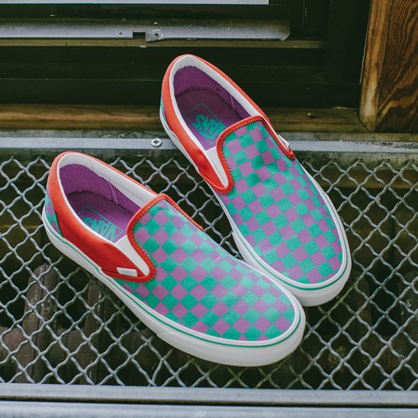alternate view Vans Slip On Checkerboard Skate Shoe - Tomato / OrchidC-HERO2
