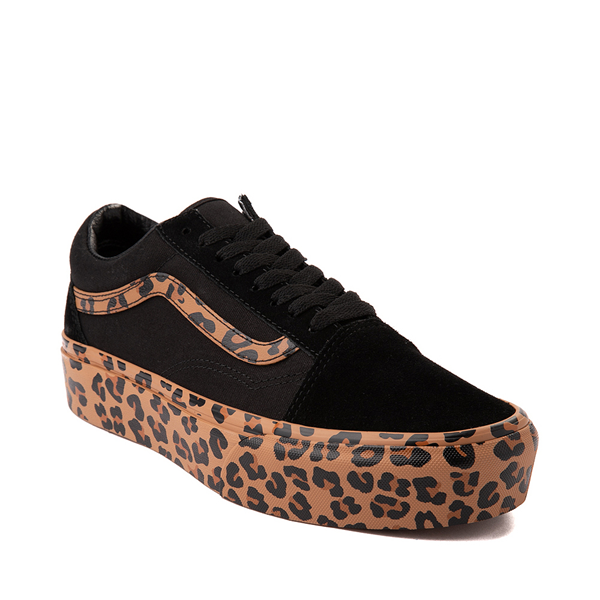 alternate view Vans Old Skool Platform Skate Shoe - Black / LeopardALT5