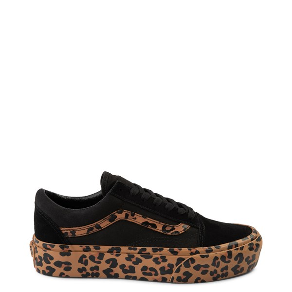Main view of Vans Old Skool Platform Skate Shoe - Black / Leopard