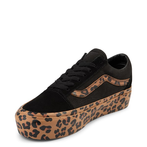 alternate view Vans Old Skool Platform Skate Shoe - Black / LeopardALT3