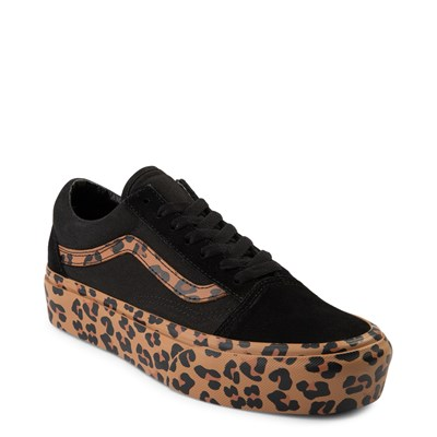 Alternate view of Vans Old Skool Platform Skate Shoe - Black / Leopard