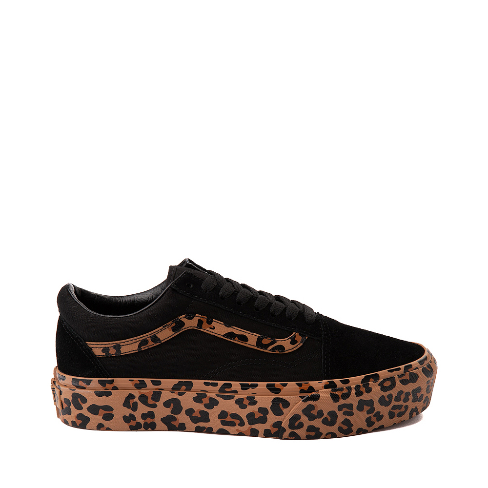 Vans Old Skool Platform Skate Shoe - Black / Leopard