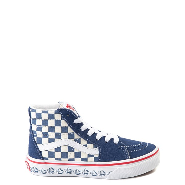 Default view of Vans Sk8 Hi BMX Checkerboard Skate Shoe - Little Kid / Big Kid - Blue / White