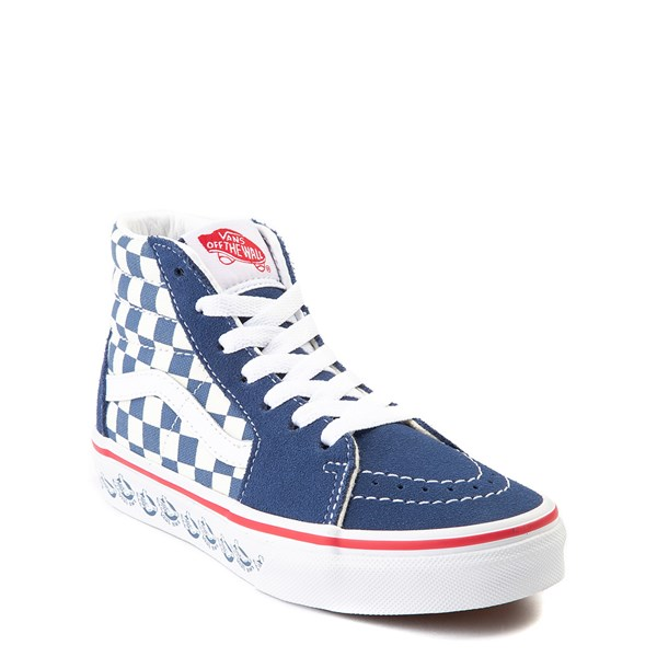 alternate view Vans Sk8 Hi BMX Checkerboard Skate Shoe - Little Kid / Big Kid - Blue / WhiteALT1