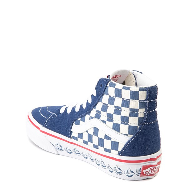 alternate view Vans Sk8 Hi BMX Checkerboard Skate Shoe - Little Kid / Big Kid - Blue / WhiteALT2