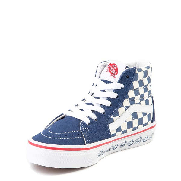 alternate view Vans Sk8 Hi BMX Checkerboard Skate Shoe - Little Kid / Big Kid - Blue / WhiteALT3