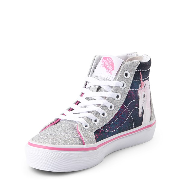 alternate view Vans Sk8 Hi Zip Unicorn Skate Shoe - Little Kid / Big Kid - Silver / MultiALT2