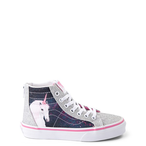 Default view of Vans Sk8 Hi Zip Unicorn Skate Shoe - Little Kid / Big Kid - Silver / Multi