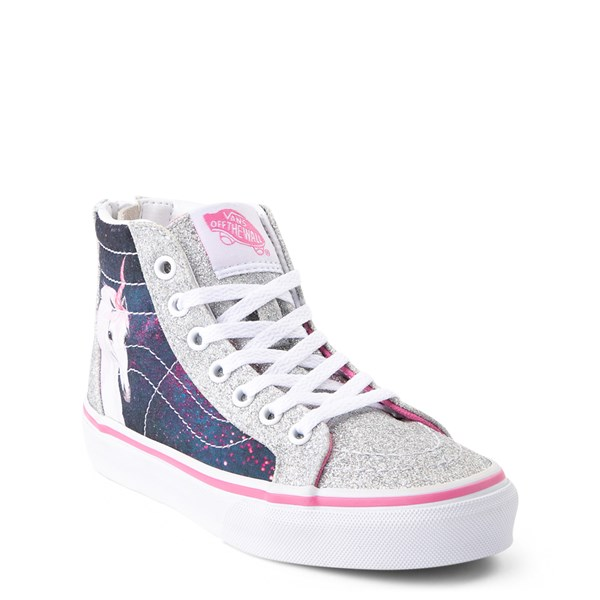 Alternate view of Vans Sk8 Hi Zip Unicorn Skate Shoe - Little Kid / Big Kid - Silver / Multi