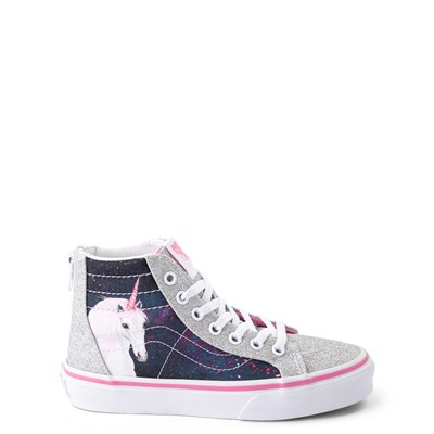 Main view of Vans Sk8 Hi Zip Unicorn Skate Shoe - Little Kid / Big Kid - Silver / Multi