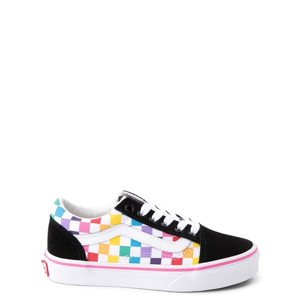 Main view of Vans Old Skool Rainbow Checkerboard Skate Shoe - Little Kid - Black / Multi